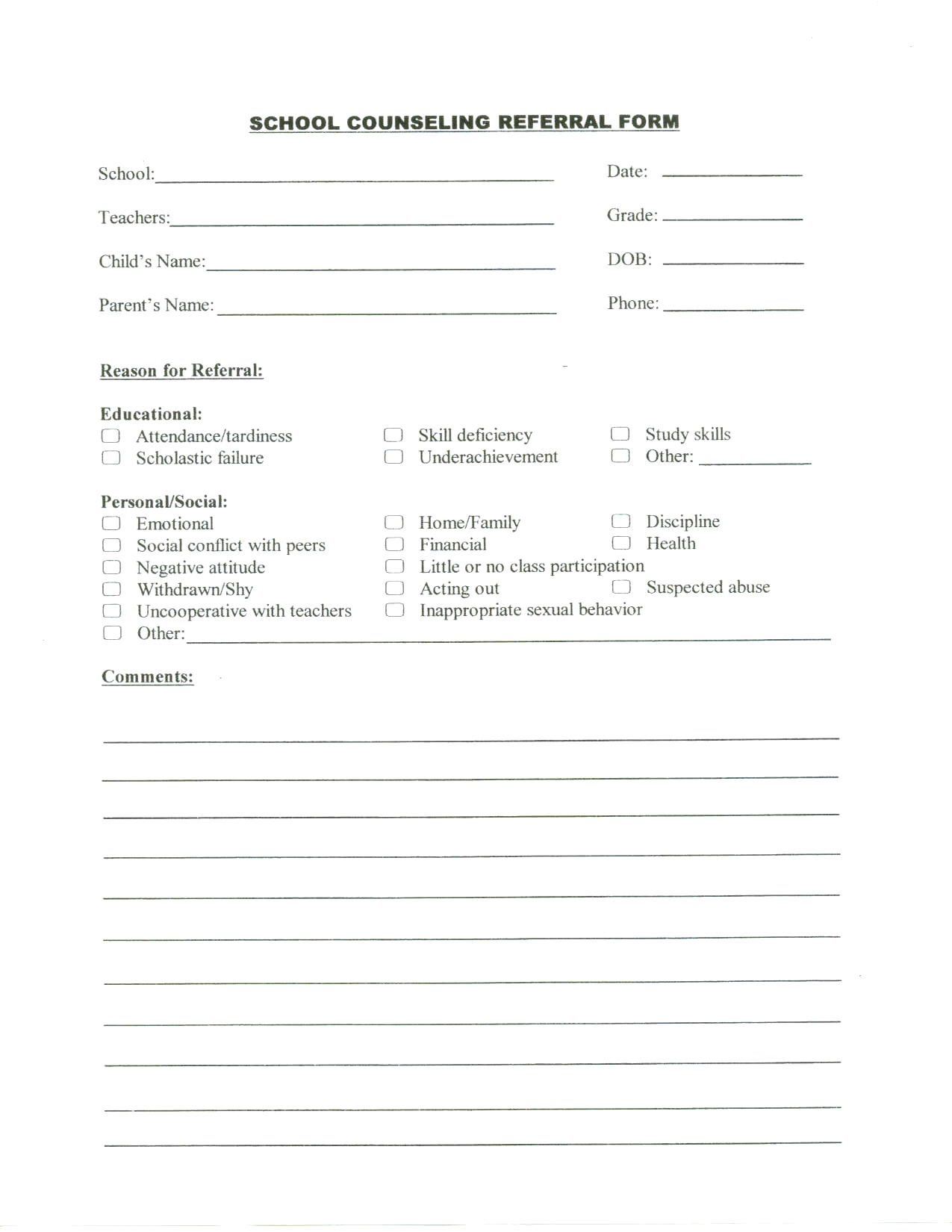 Counselling counselling form for Referral document template